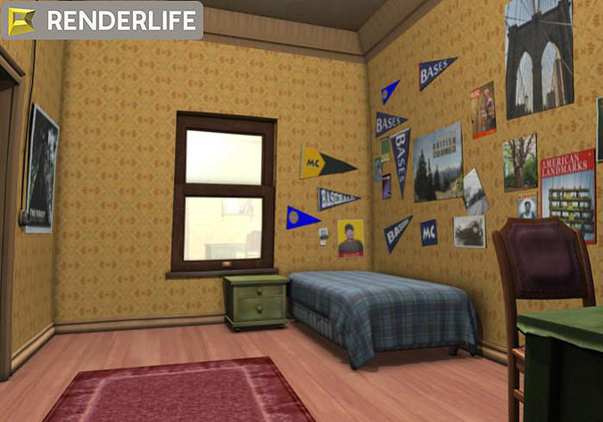 Kids Bedroom 3d Model 3d model vintage child s room | cgtrader