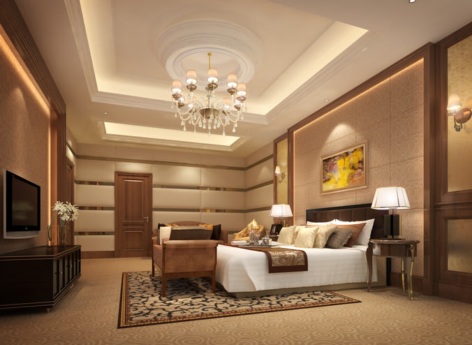 3d luxurious hotel bed room cgtrader for Apartment design models