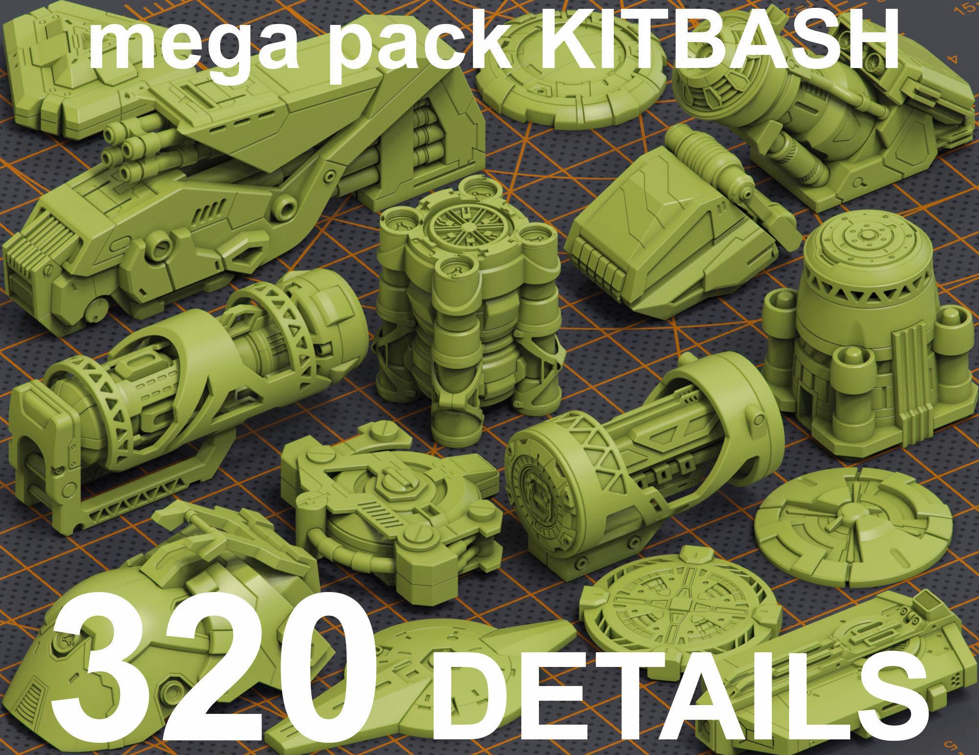 Mega Pack Hard Surface Kitbash 320 DETAILS