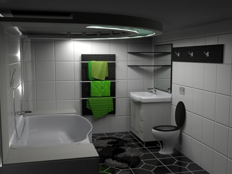 Modern Black White Green Bathroom 3d Model Max