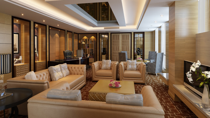 Living Room with Leather Furniture 3D | CGTrader