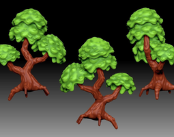 stylized cartoony fantasy tree 3d