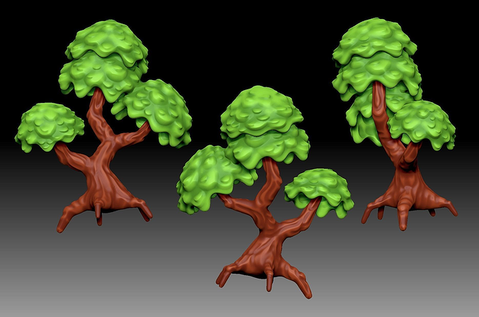 stylized cartoony fantasy tree 3d model obj fbx ma mb ztl wrl wrz x3d 1