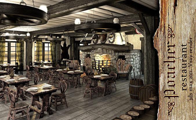 3d model poacher banquet restaurant cgtrader for Restaurant 3d max