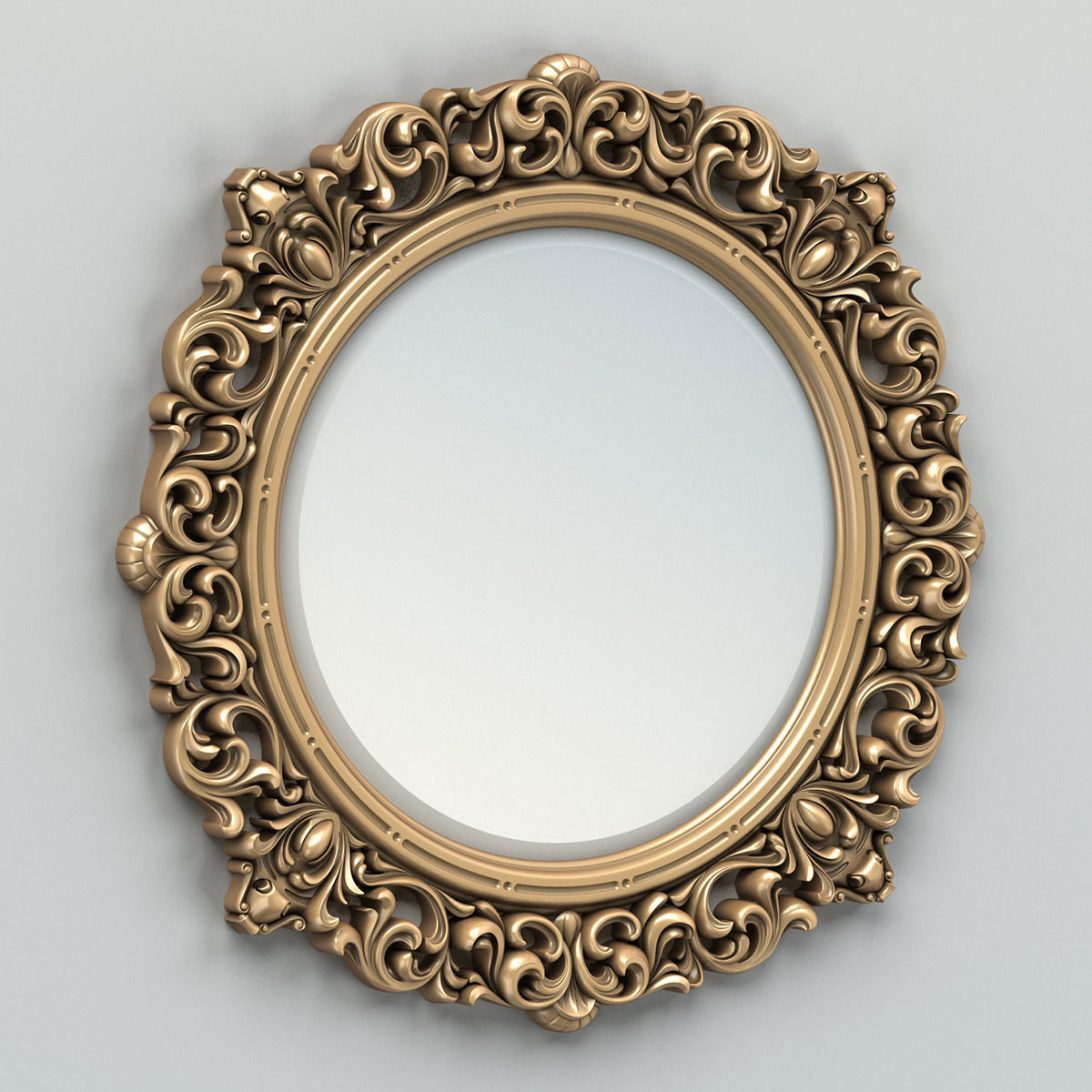3D Round mirror frame 001 classic   CGTrader