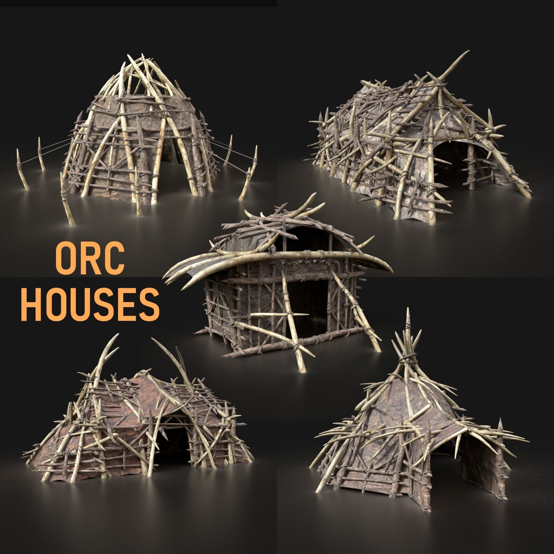 Orc Camp Village House Primal Tent Hut Builder Pack Collection