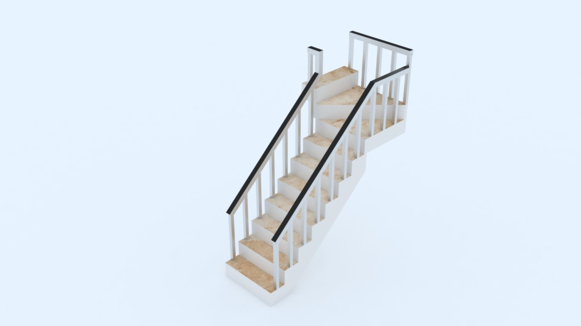 3d model stairs l shape vr ar low poly max obj 3ds fbx dxf stl cgtrader
