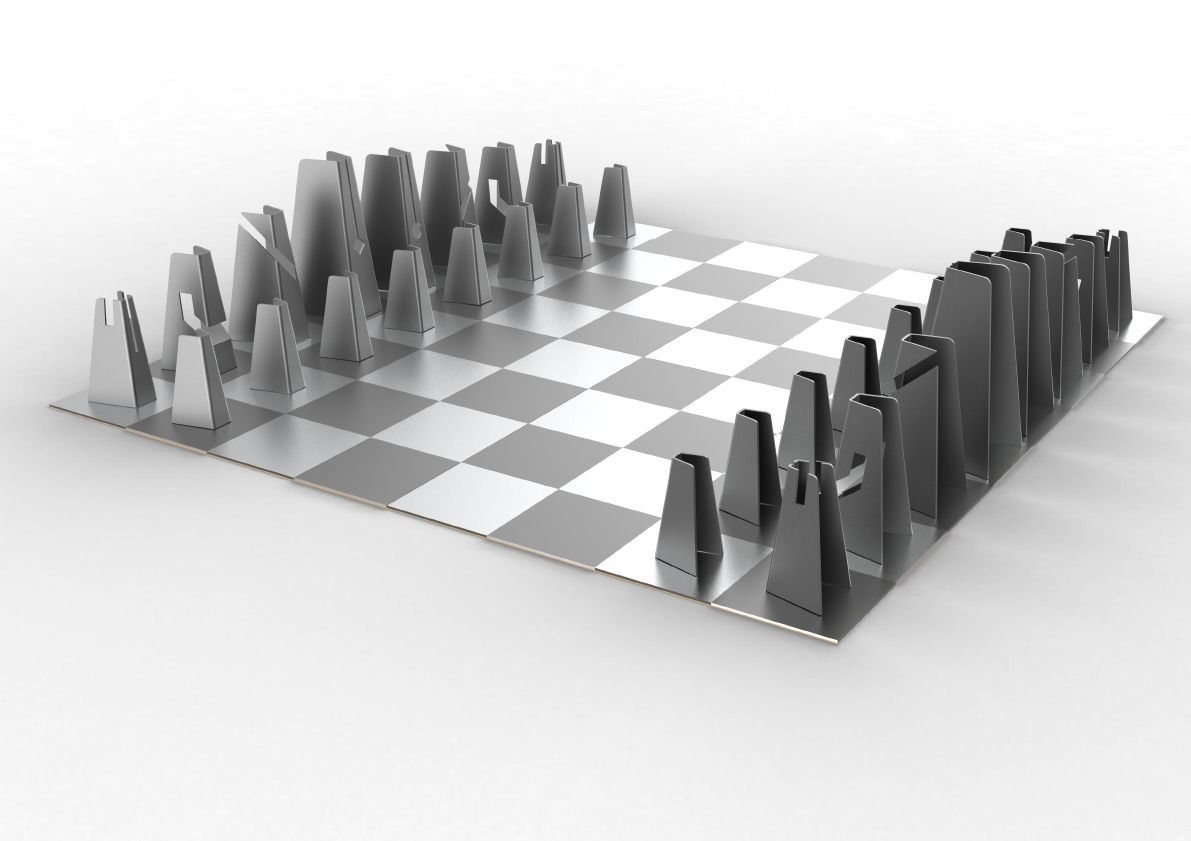 3d Printable Model Modern Chess Set Cgtrader