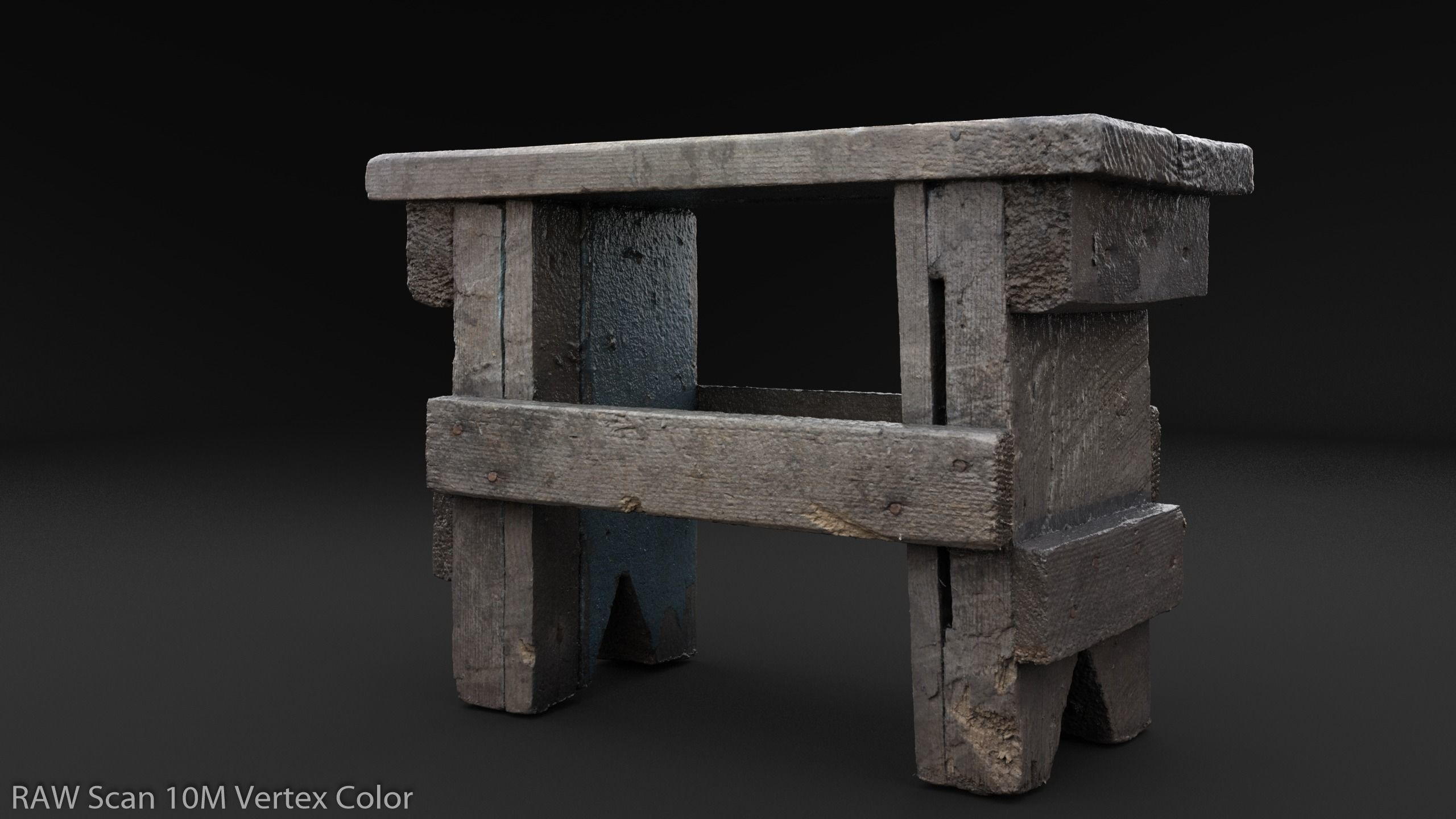 Scanned Small Bench Game Ready PBR