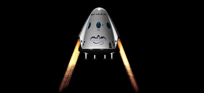 dragon v2 space capsule  animated 3d model animated max 1