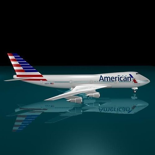 Newlogo 3d: American Airlines 747-123 New Logo 3D Model
