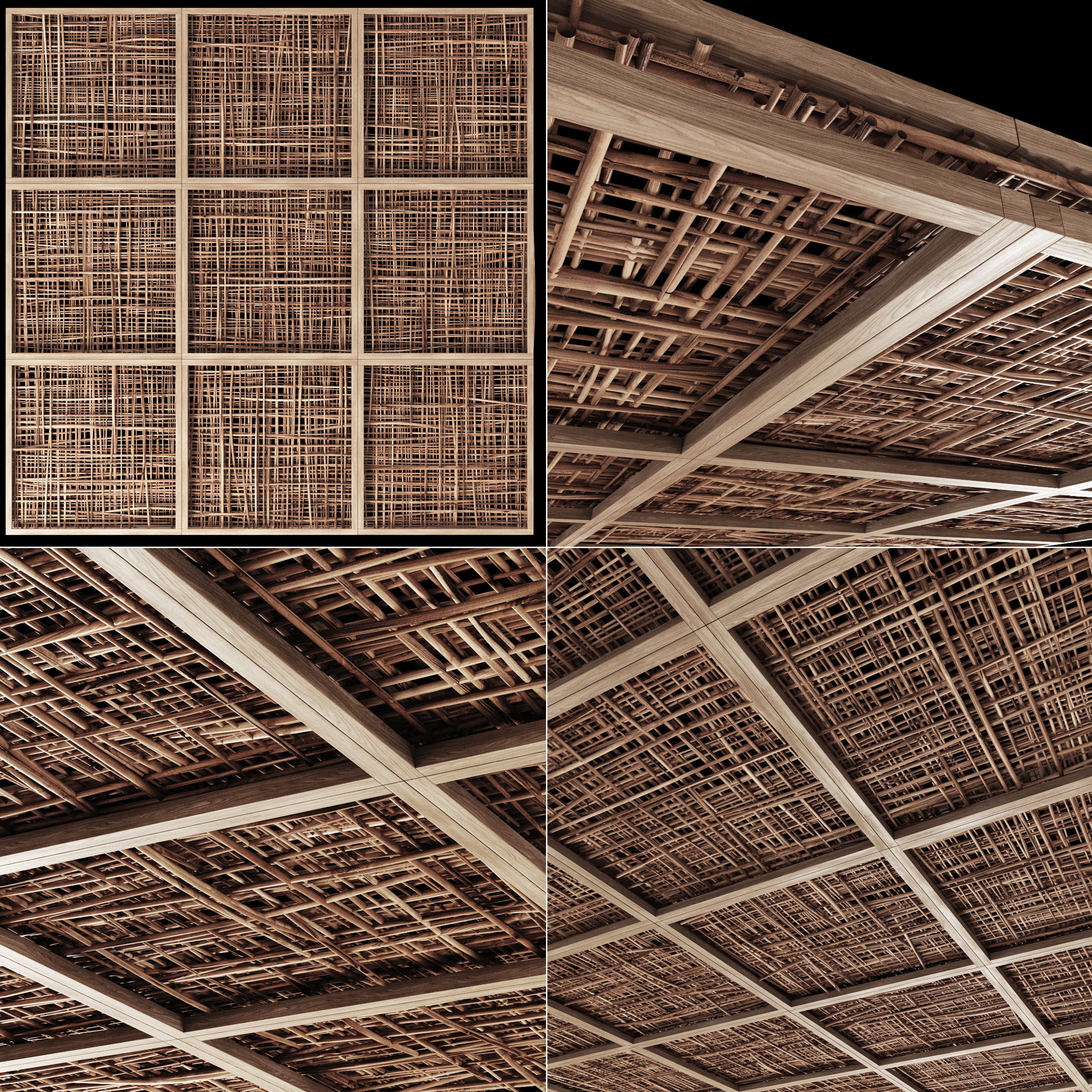Ceiling wood cage thin branch n4
