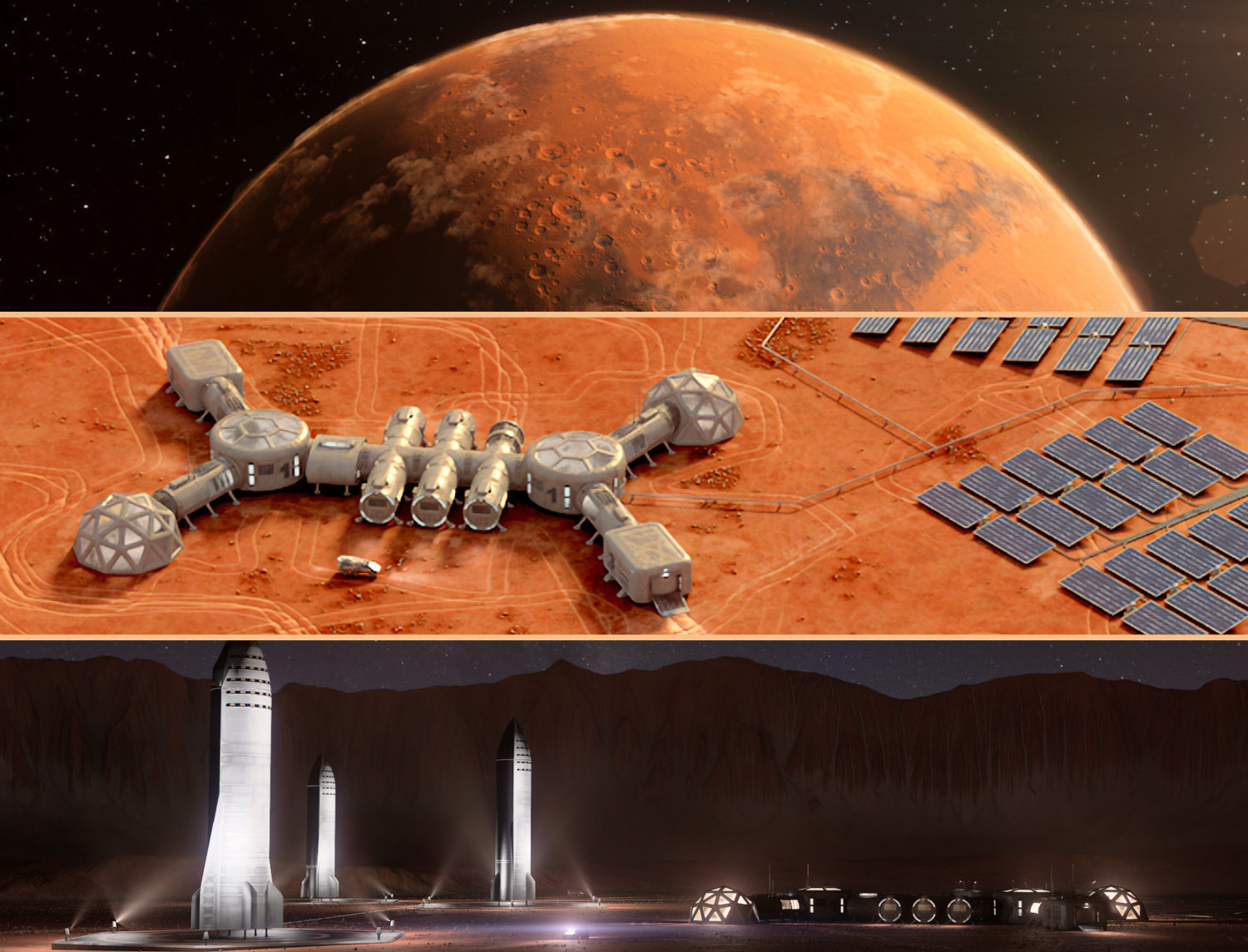 Martian base colony in the crater and entire planet Mars