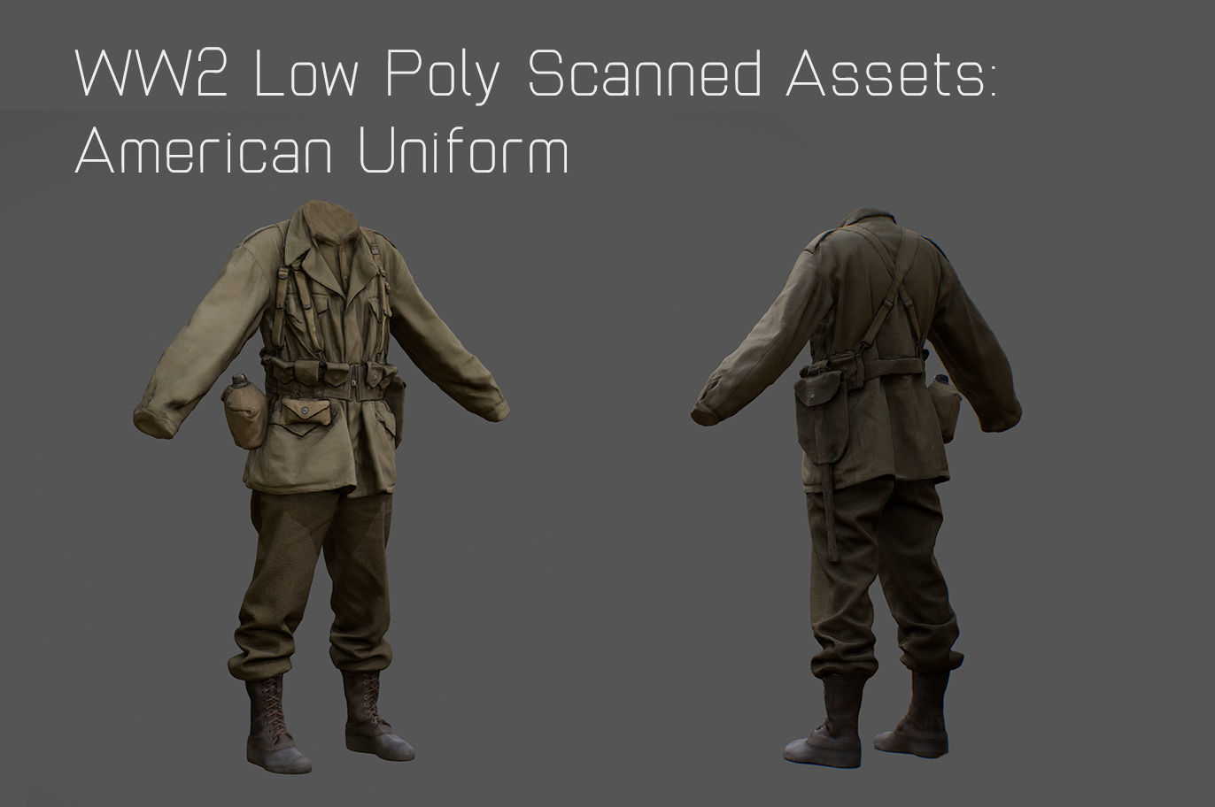 US American Uniform WW2 Photogrammetry Based 3D Scanned