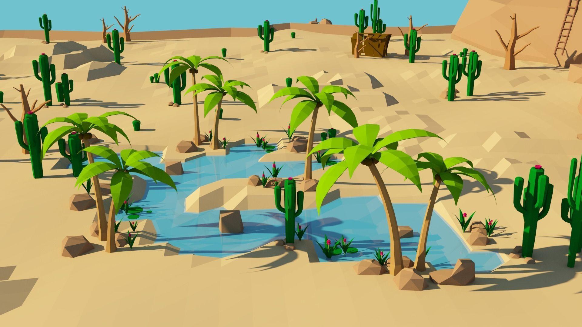 Lowpoly Desert Game Environment Assets - Oasi 3d models