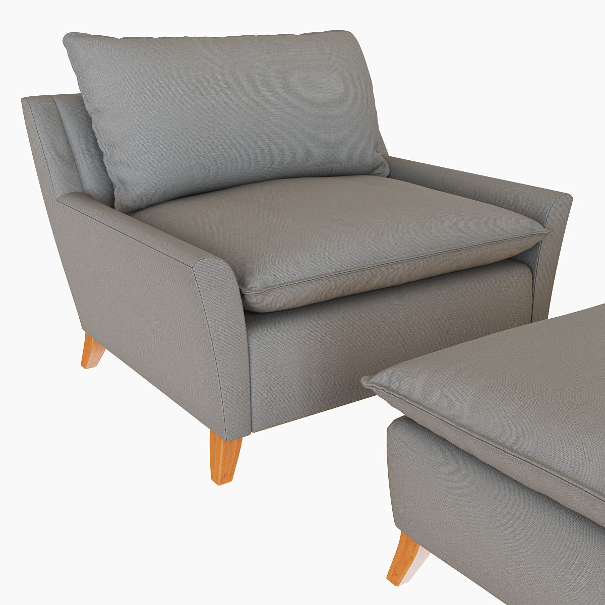 Perfect ... West Elm Bliss Down Filled Chair And A Half 3d Model Max ...