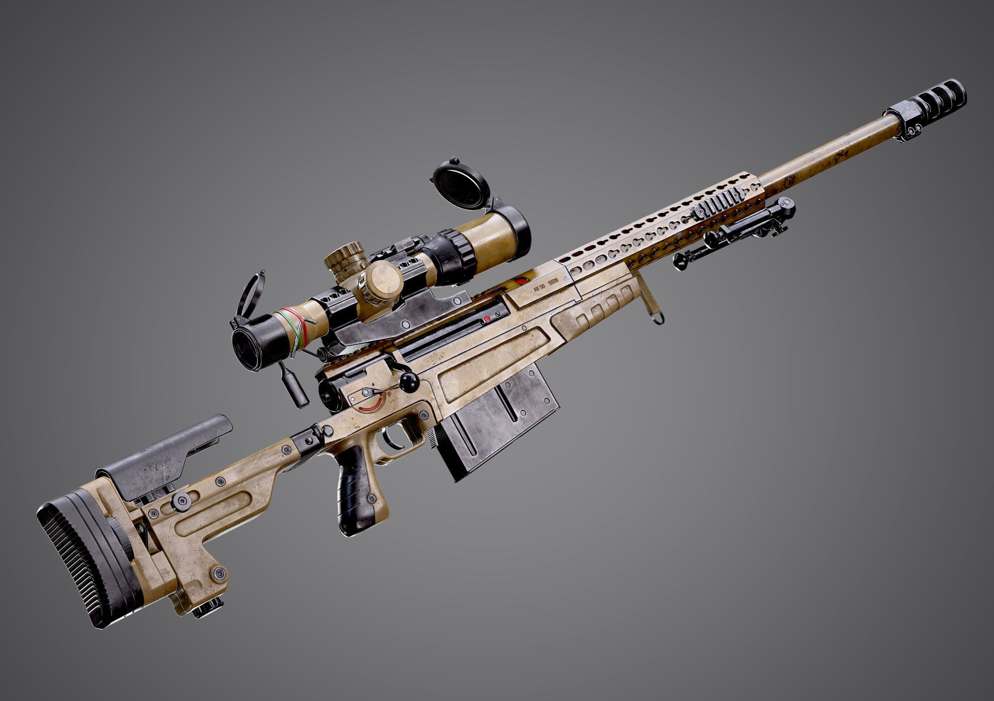 AX-50 Sniper Rifle AAA FPS Game Ready Weapon Asset