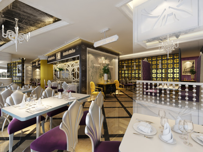 Hotel restaurant 3d model cgtrader for Restaurant 3d max