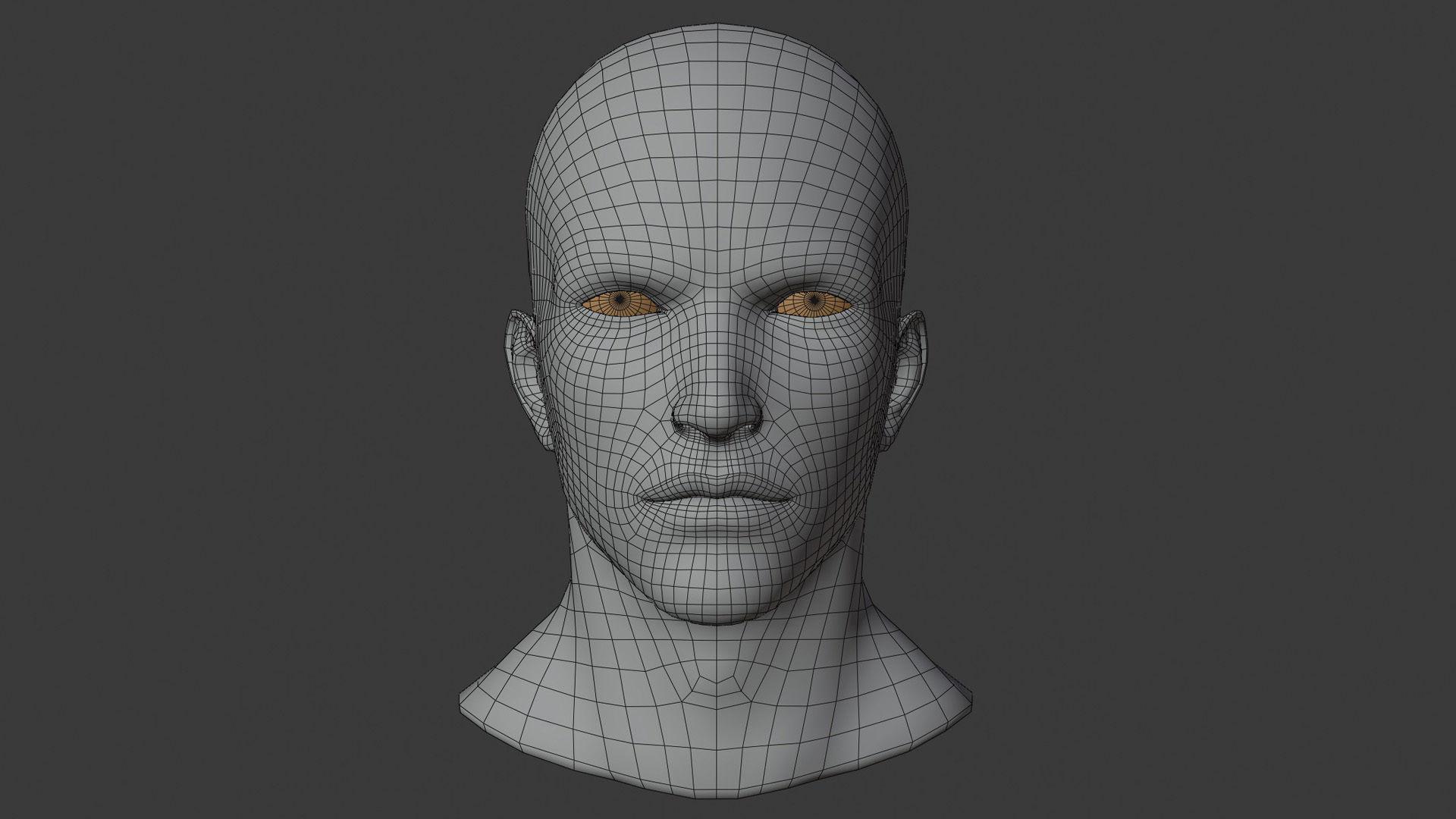 wellmade man head base mesh with highpol head sample