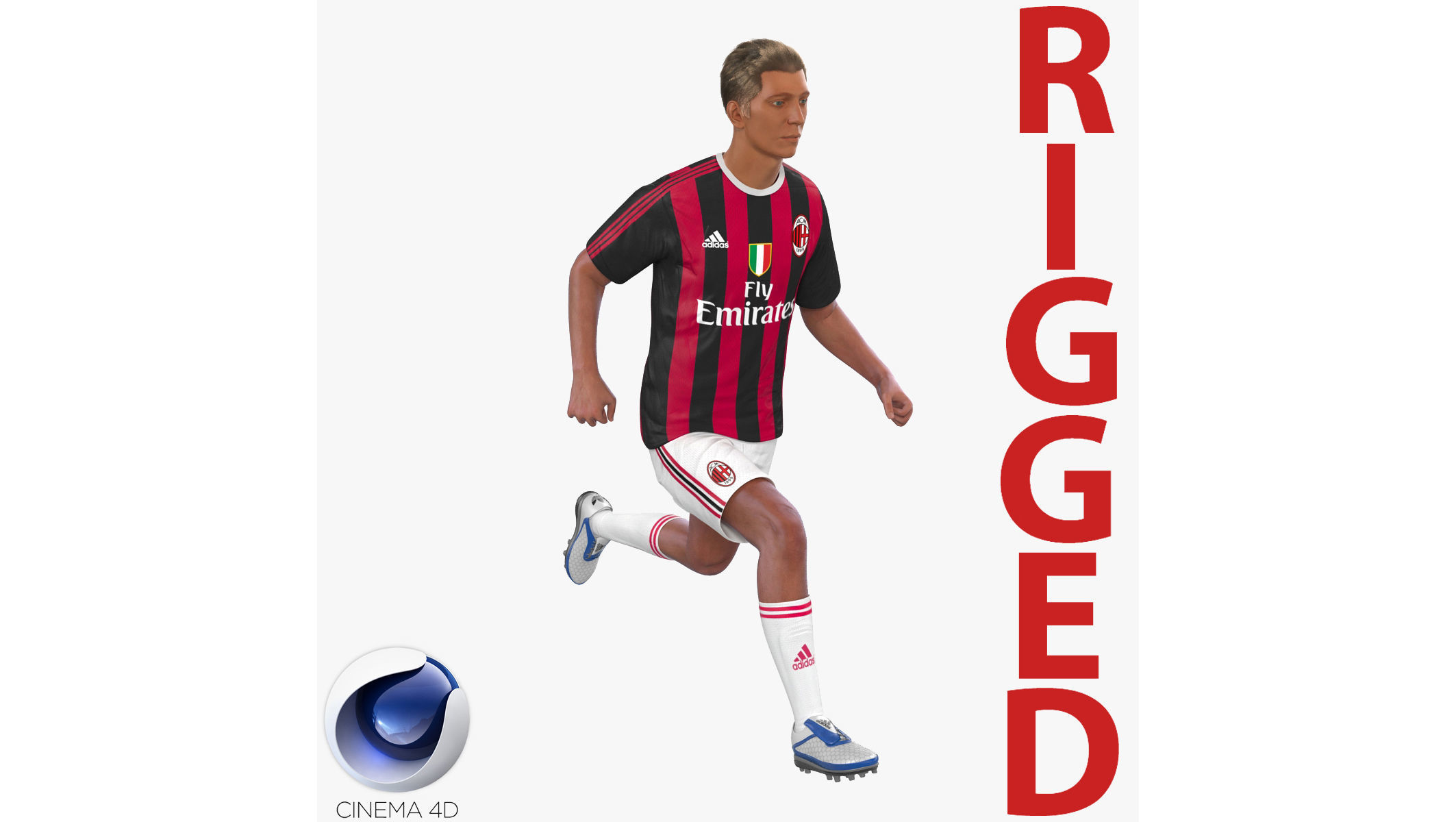 Soccer Player Milan Rigged 2 for Cinema 4D