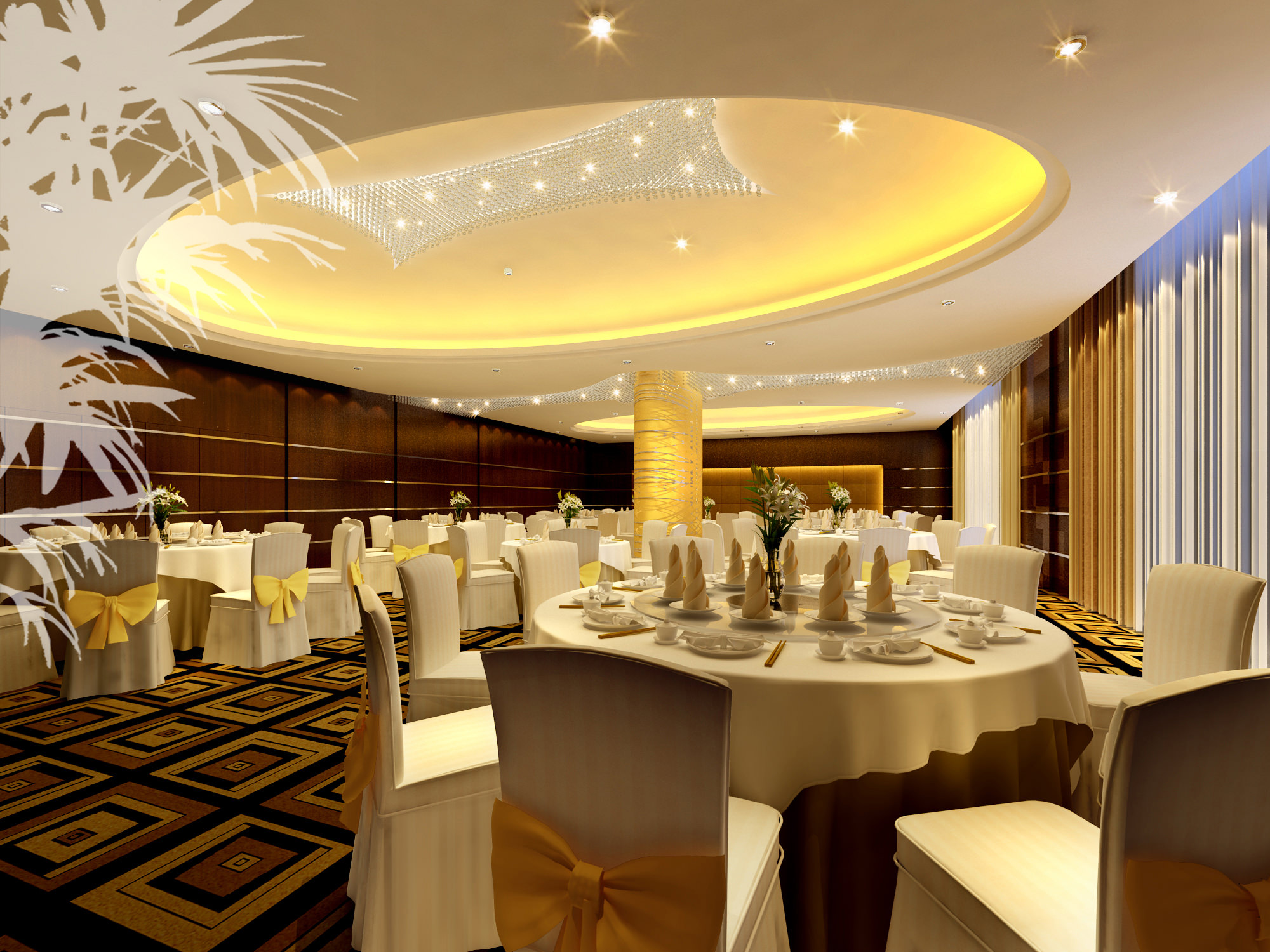 Banquet Hall With Luxury Interior 3d Model Max