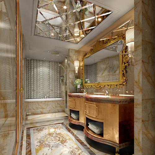 Bathroom With Ceiling Mirror 3D Model