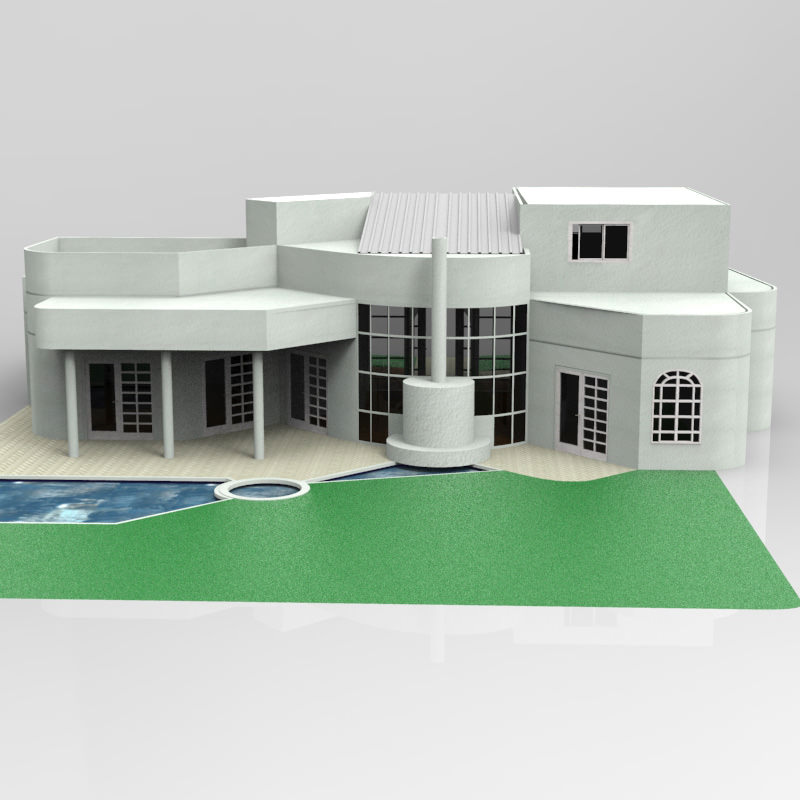 One and half story home 3d model max obj House 3d model