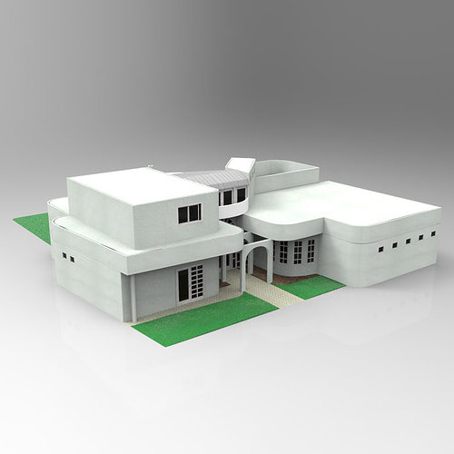 One and half story home 3d model max obj mtl pdf Home 3d model