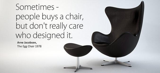 The Egg Chair With Stool   Arne Jacobsen 3D Model