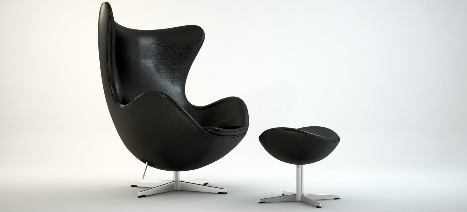 the egg chair with stool arne jacobsen 3d model max obj. Black Bedroom Furniture Sets. Home Design Ideas