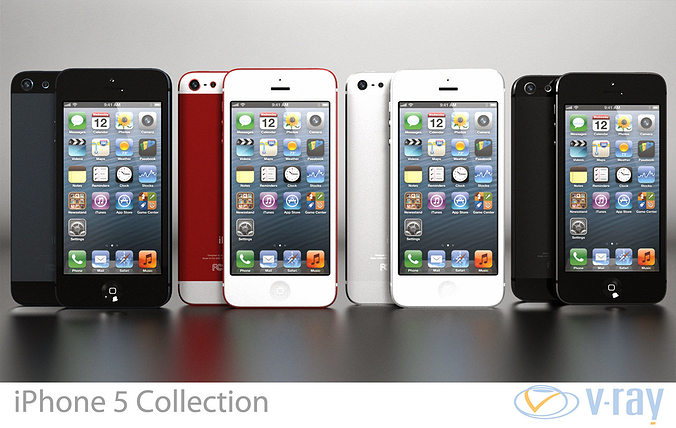 apple iphone 5 collection 3d model max obj mtl 3ds fbx dxf dwg 1