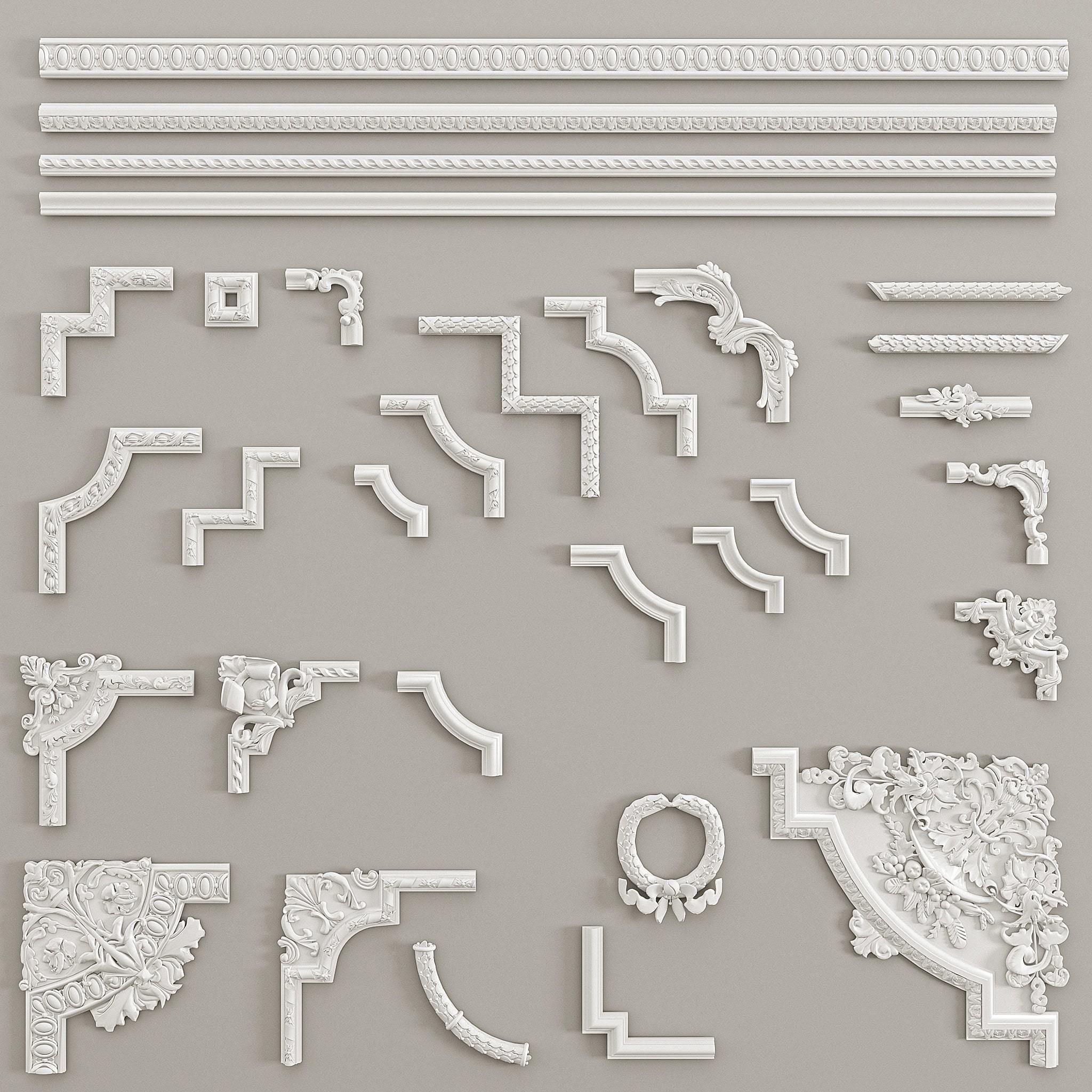 Angular elements and borders Decorative Gaudi Elements