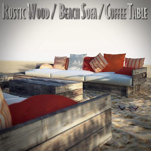 Rustic Wood Beach Furniture 3D Model