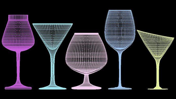 mega glass collection 01 3d model max obj 3ds fbx dxf dwg 8