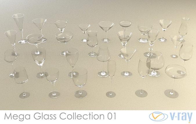 mega glass collection 01 3d model max obj 3ds fbx dxf dwg 1