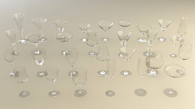 mega glass collection 01 3d model max obj 3ds fbx dxf dwg 2