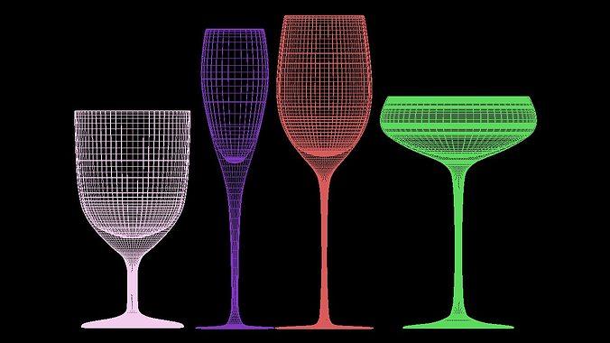 mega glass collection 01 3d model max obj 3ds fbx dxf dwg 10