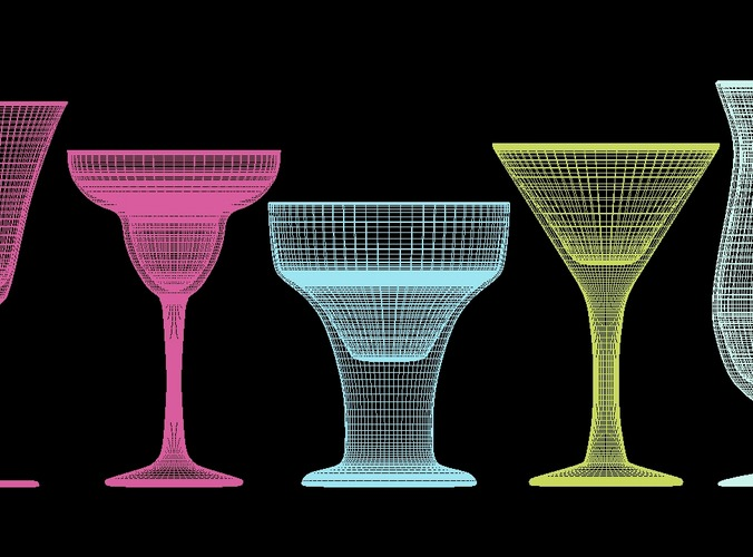 mega glass collection 01 3d model max obj 3ds fbx dxf dwg 7