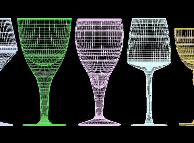 mega glass collection 01 3d model max obj 3ds fbx dxf dwg 9