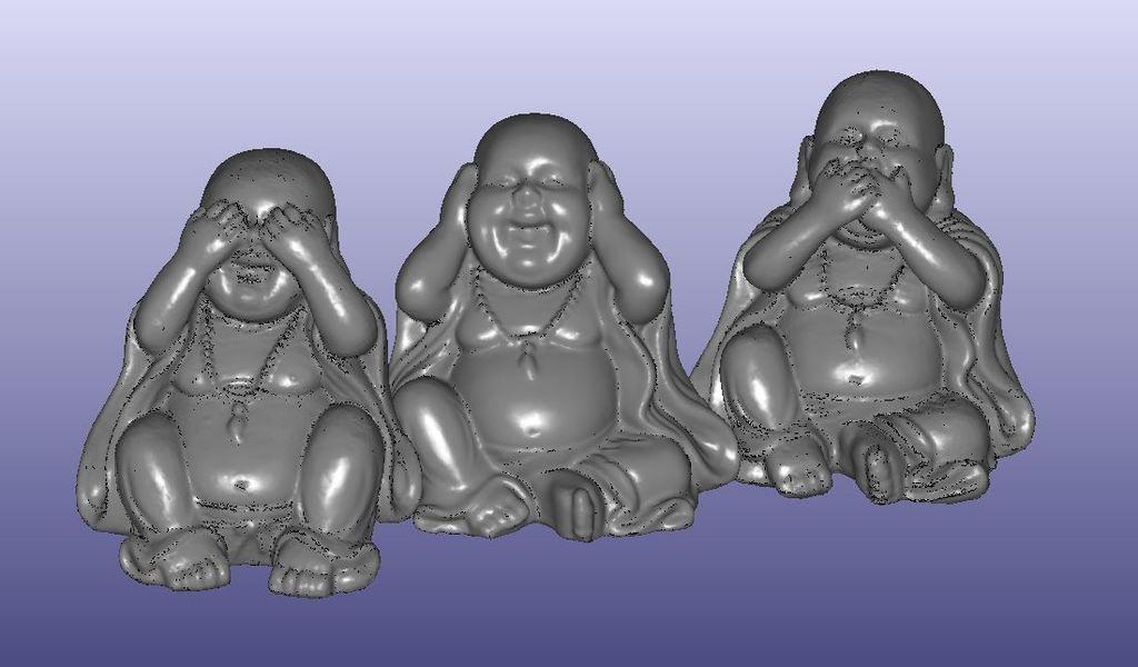 Buddha See No Evil Hear No Evil Speak No Evil Statue 3D Scan