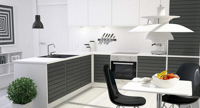 Exceptional ... Modern Kitchen Interior 001 3d Model Max Obj Fbx Dxf Dwg 3 ...