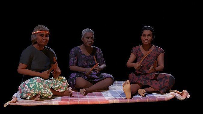 Aboriginal Women Sitting On Rug