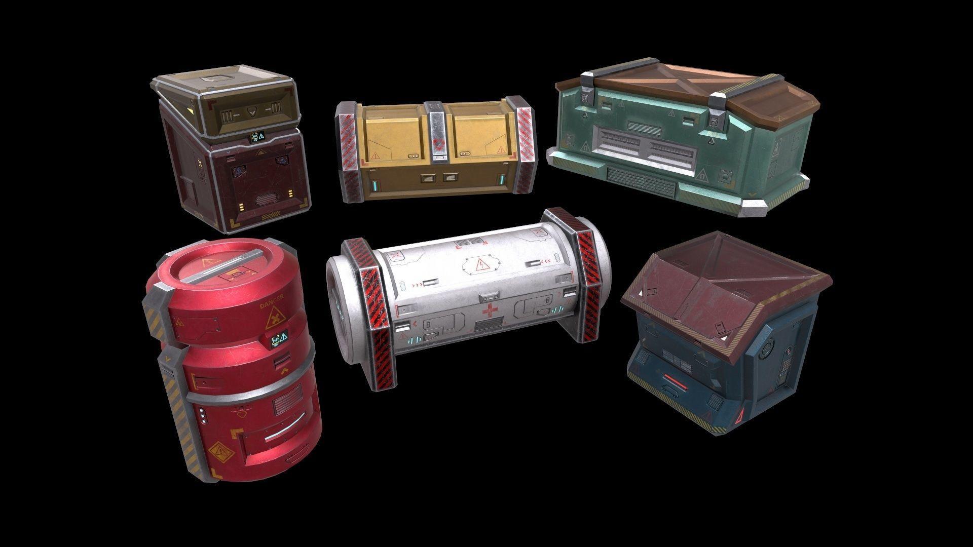 6 Models Scifi Crate Pack Openable Door