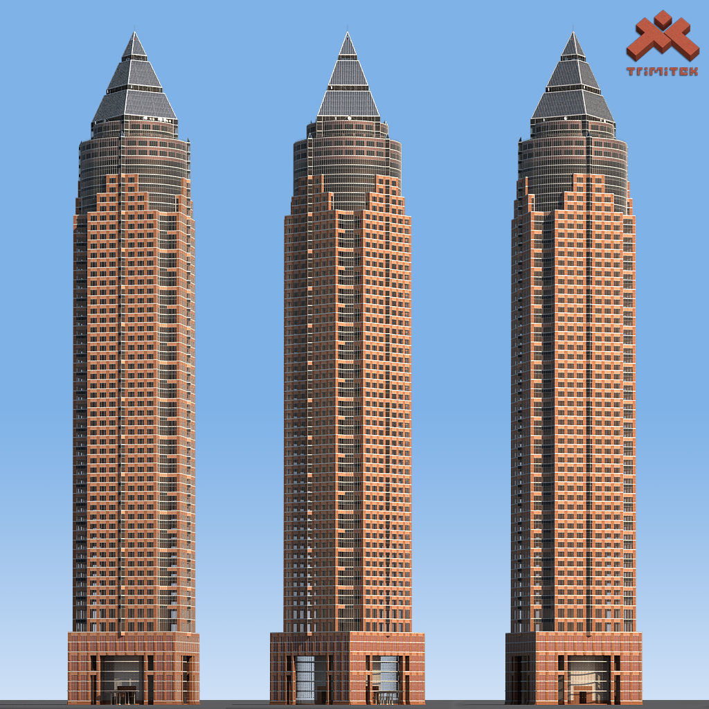 MesseTurm Skyscraper Detailed and Low Poly Set