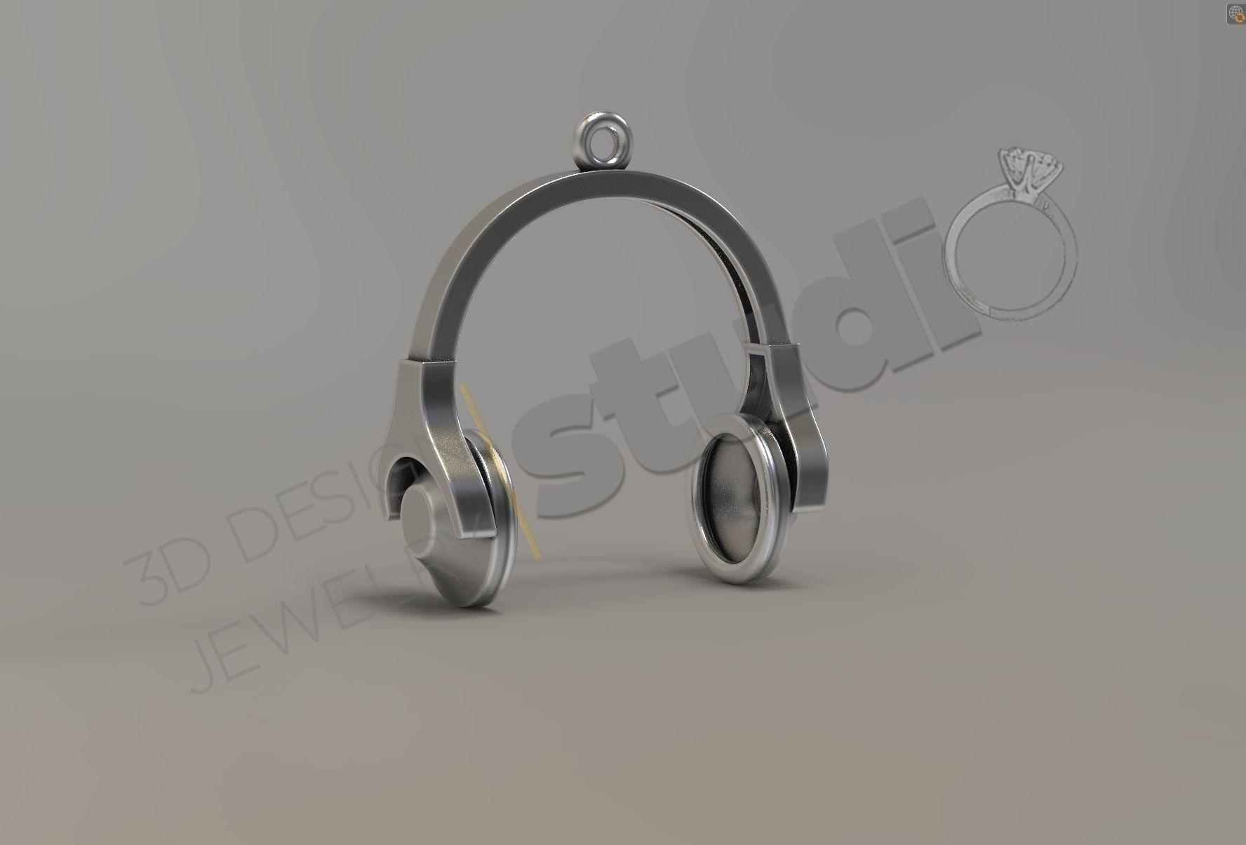 DJ  headphones music pendant 3d model