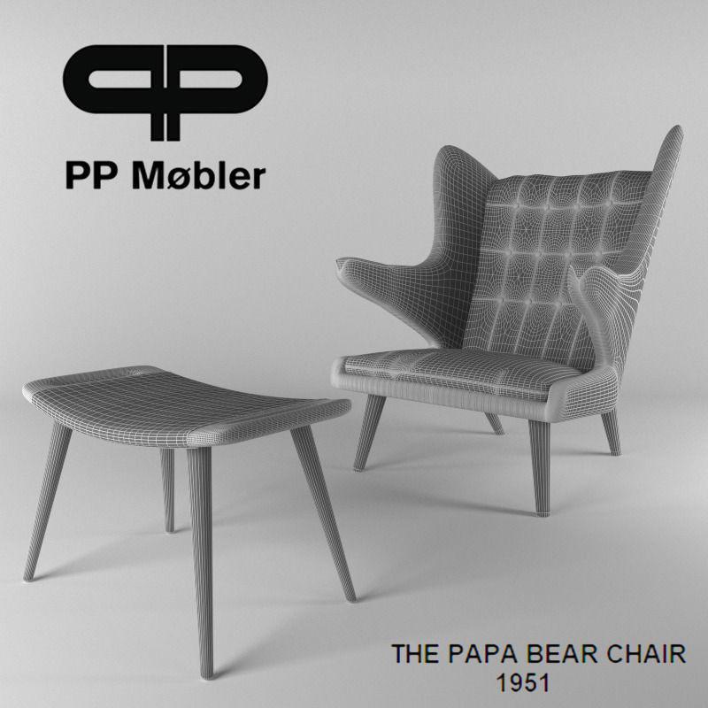 ... The Papa Bear Chair And Ottoman 3d Model Max Fbx 2
