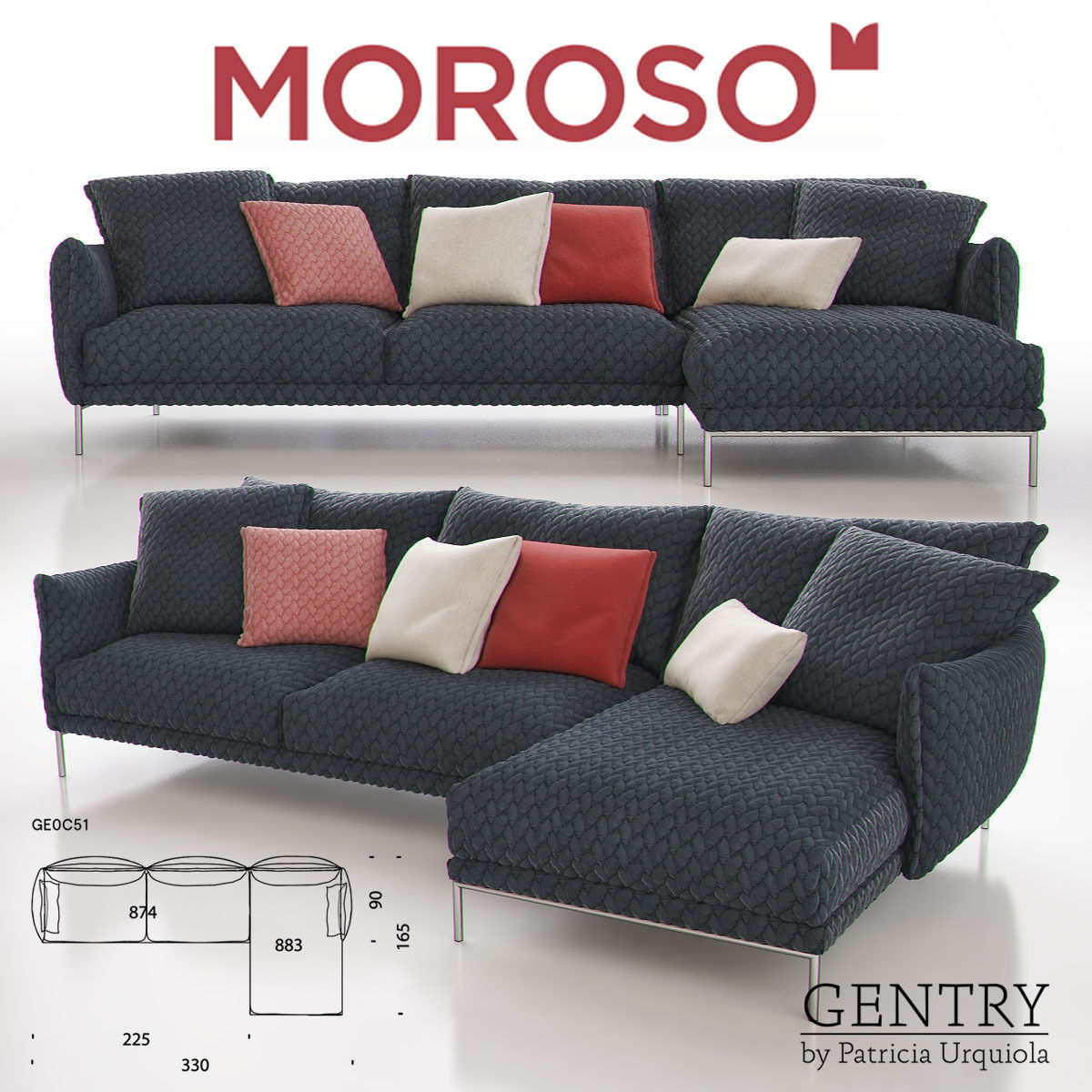 Enjoyable Moroso Gentry Ge0C51 Sofa 3D Model Interior Design Ideas Skatsoteloinfo