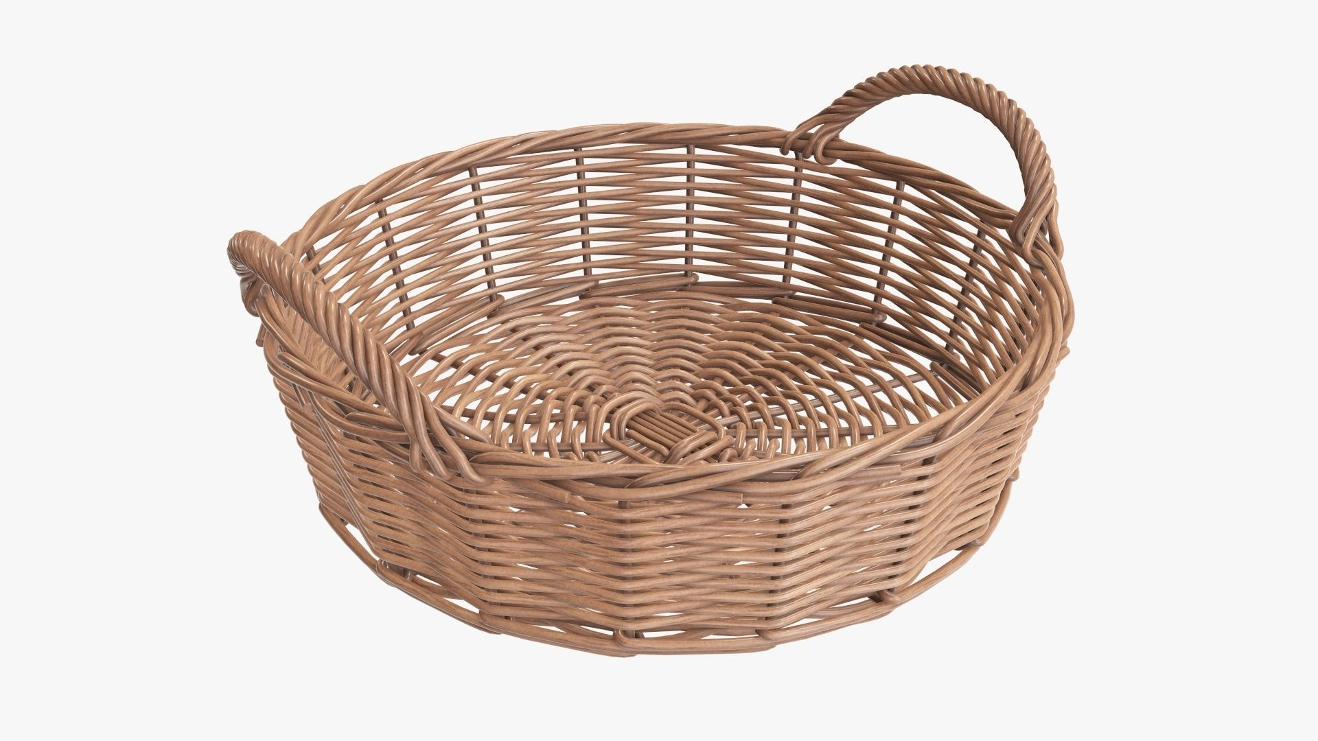 Wicker basket round with handle light brown