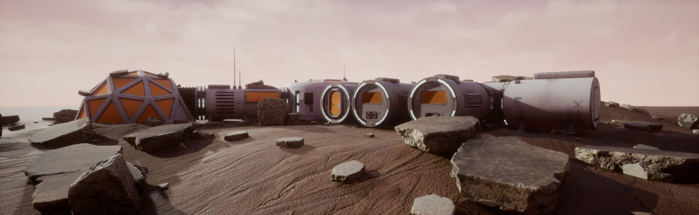 Space Mars Colony Scene 8K Textures and UnrealEngine Scene