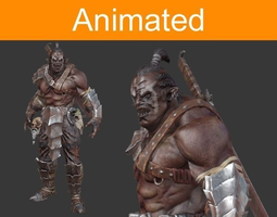 character orc 3d model low-poly animated 3ds fbx